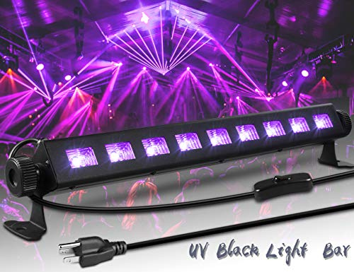 ECHTPower Black Light 27W 9LED UV Light Bar Glow in The Dark Party Supplies for Blacklight Party Birthday Wedding Stage Lighting Christmas, Disco DJ Poster Tapestry and UV Body Paint (Black UV) -