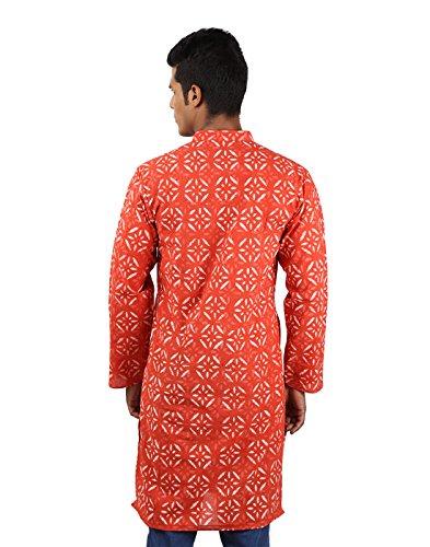 Indian Designer Handmade Cotton Short Mens Kurta Casual Punjabi Traditional Wear Clothing, Dark Peach by RAJRANG (Image #2)