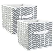 DII Fabric Storage Bins for Nursery, Offices, Home Organization, Containers Are Made To Fit Standard Cube Organizers (11x11x11) Herringbone Gray - Set of 2