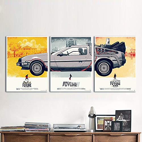 - NATVVA Canvas Art Movie Poster 3 Pieces Back to The Future Phantom City Painting Home Decor Wall Pictures for Living Room