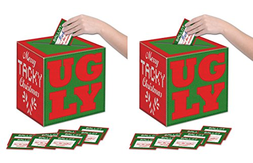 Ugly Sweater Ballot (Beistle 20884 2 Pieces Ugly Sweater Ballot Boxes with Ballots, 9