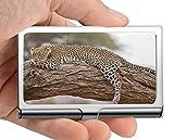 Business Name Card Holder Wallet,Leopard Safari Africa Kenya Business Card Case Stainless Steel Card Holder