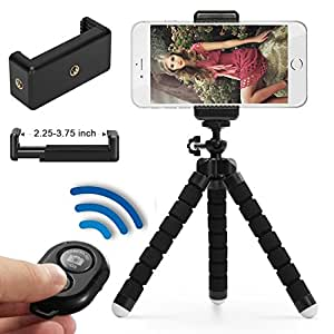 Phone Tripod, Flexible Cell Phone Tripod with Remote for iPhone & Android Phone, Camera, and Gopro (Black)