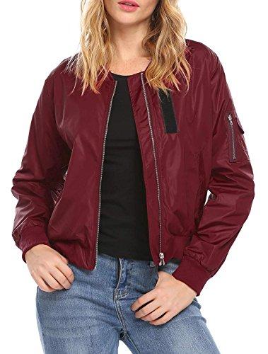 Women's Raglan Sleeves Quilted Zip Up Bomber Jacket Wine Red ()