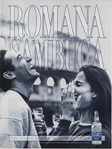 Magazine Print Ad: 1990 Romana Sambuca Liquore Classico, Couple Outdoors,