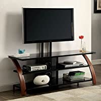 Furniture of America Zelena Contemporary Style Two-Tone Oak/Black TV Stand with Mount Bracket 60