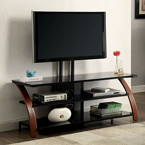 Furniture of America Zelena Contemporary Style Two-Tone Oak/Black TV Stand with Mount Bracket 60'' by Furniture of America