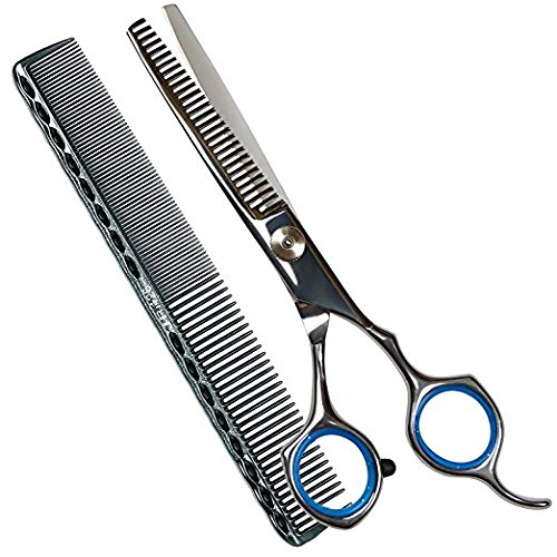 Professional Hair Cutting Shaving Scissors Thinning Texturizing Shears 6,Stainless Steel Barber Handmade Hair-cutting with Comb and Adjustable Finger…