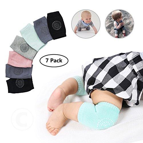 Wonyered Baby Breathable Crawling Anti-Slip Knee Unisex of High Elastic Sponge Baby Toddlers Kneepads 7 Pairs