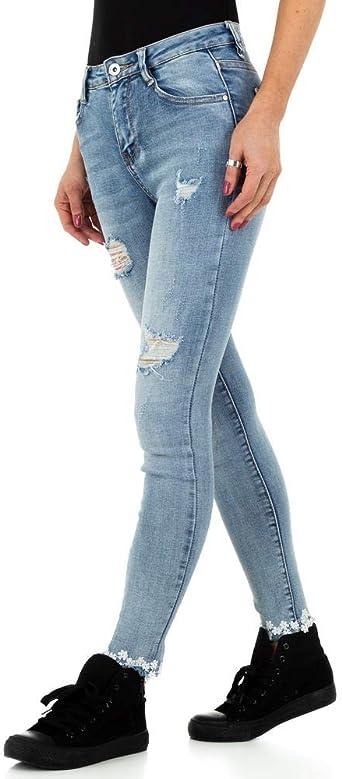 Ital-Design Destroyed Skinny dżinsy damskie: Odzież