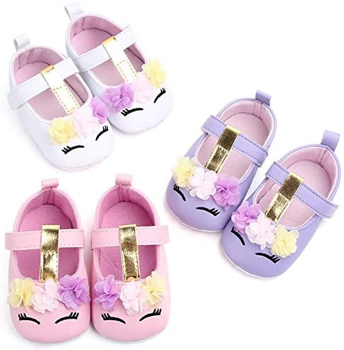 UniBaby7 Baby Girl Shoes Soft Sole Walking Shoes with Tassels Infant Prewalker Rose Print Flower Crib Shoes for 3 3.5 4 4.5 5 5.5 6 6.5 M Toddler Girls