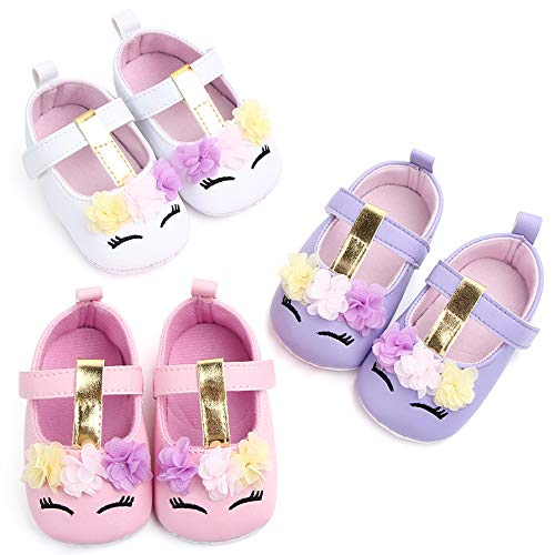 UniBaby7 Baby Girl Shoes Soft Sole Walking Shoes Infant Prewalker Flower Mary Jane Flats Crib Shoes Princess Wedding Dress Shoes for Toddler Girls