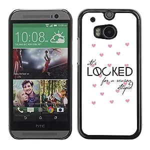 FECELL CITY // Duro Aluminio Pegatina PC Caso decorativo Funda Carcasa de Protección para HTC One M8 // Love Quote Valentines Pink White