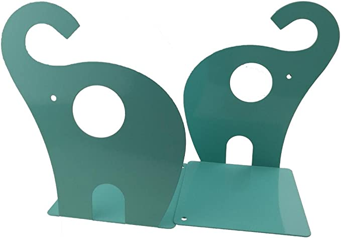Black Xdorra 1 Pair Cute Cartoon Elephant Shape Nonskid Metal Bookends for Kids Gift Decoration