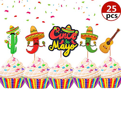 25 Pcs JeVenis Fiesta Cupcake Toppers Mexican Fiesta Party Cake Decoration for Mexican Themed Cactus Donkey Taco Pepper Sombrero Mustache Party Decorations