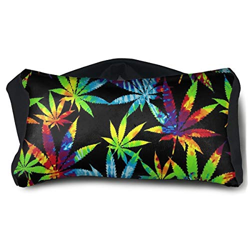 Voyage Travel Pillow Eye Mask 2 in 1 Portable Neck Support Scarf Tie Dye Weed Leavesic Naps Rest Pillows Sleeper Versatile for Airplanes Car Train Bus Home Office