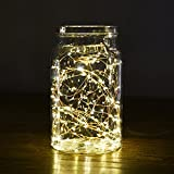 String Lights Battery Operated 3M 30LED, Oak Leaf Silver Wire powered Fairy Light Waterproof, 8 Lighting Modes + Timer for Indoor Outdoor Bedroom DIY Bottle Light Wedding Decoration Warm Whit
