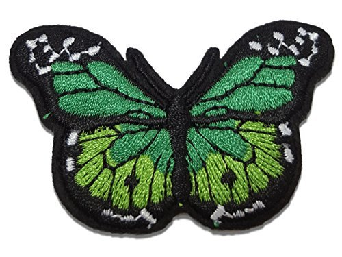 - Green Butterfly Embroidered Iron-on Sew-on Patch by Crystal Charmz, Ideal for Craft Projects, Jackets, Jeans & Bags etc. by Crystal Charmz