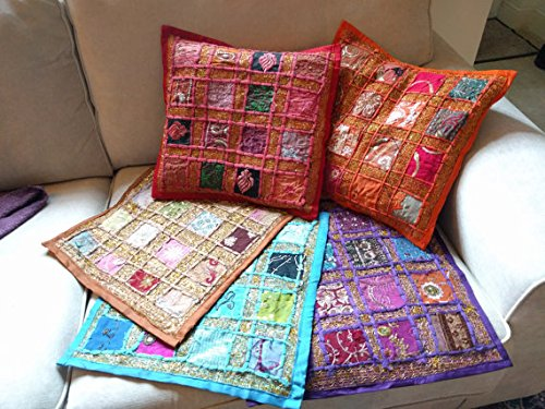 5 pcs Indian Traditional Handmade Cushion Cover, Decorative Throw Pillow Cases, Embroidered Cotton Cushion Cover Home Decor Toss & Sofa Cover , Sari Patchwork Cushion Cover Patchwork pillow case (Toss Covers Sari Cushion Pillow)