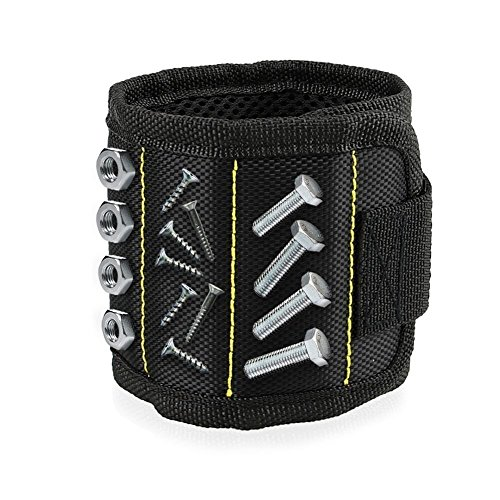 SEASWAL Magnetic Wristband with Strong Magnets for Holding Screws, Nails, Drill Bits and Small Tools - Best Unique Tool Gift for Men, DIY Handyman, Father/Dad, Husband, Boyfriend, Him, Women (Black)