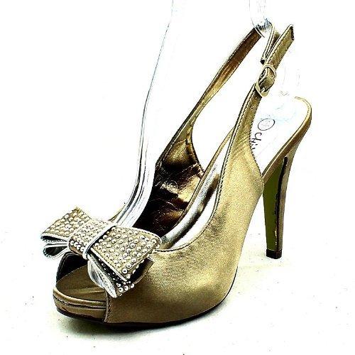 De Honor Arco Diamante Alto Correas Zapatos Satén Taupe Señoras Tachonados Dama Tacón 5YwxSqc8