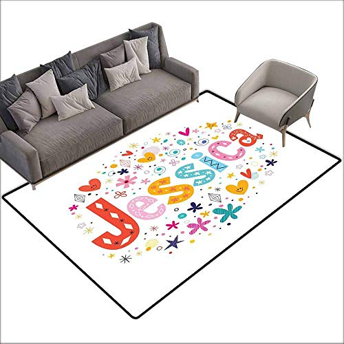 (Thin Non-Slip Kitchen Bathroom Carpet Colorful Jessica,Retro Colorful Motifs Swirls Chevron Zigzags and Happy Hearts Ornate Dots Backdrop,Multicolor 48