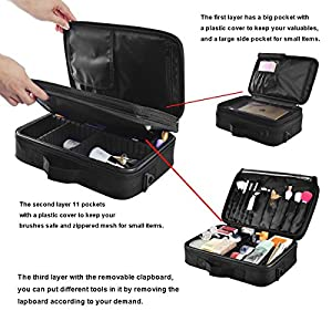 """Makeup Train Case, 12.6"""" Length Portable Cosmetic Organizer with Shoulder Strapes Multi functional Cosmetic Bag Makeup Handbag for Travel & Home Gift"""