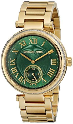 Michael Kors Women's Skylar Watch, Gold/Green, One Size by Michael Kors