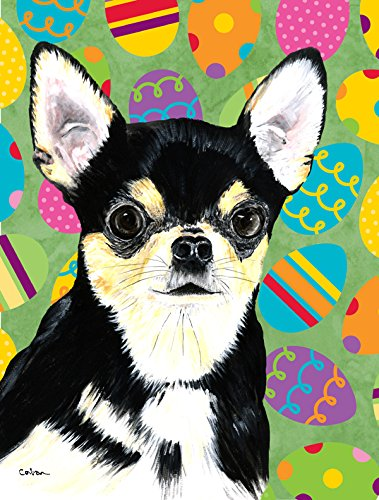 Caroline's Treasures SC9479CHF Chihuahua Easter Eggtravaganza Flag Canvas, Large, Multicolor