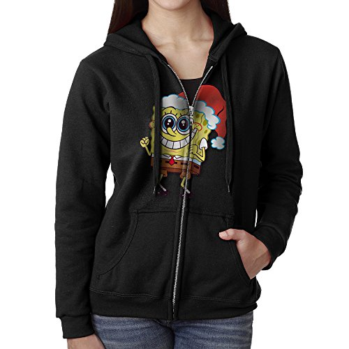 Womens SpongeBob Merry Christmas Cotton Black Full Zip Hoodie With -