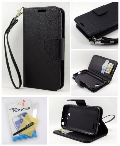 Thousand Eight(TM) For LG Optimus L70 Candy Dual-Use Flip PU Leather Wallet Pouch Case + [Free LCD Screen Protector Shield(Ultra Clear)+Touch Screen Stylus] (Wallet Pouch black)