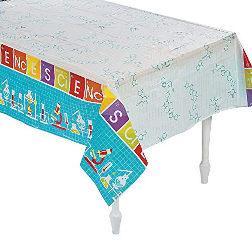 Fun Express - Science Party Tablecover for Birthday - Party Supplies - Table Covers - Print Table Covers - Birthday - 1 Piece]()