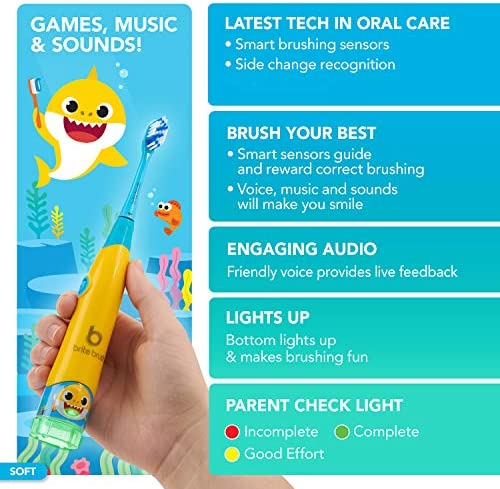 51KuhogQlWL. AC - BriteBrush - Interactive Smart Kids Toothbrush Featuring Baby Shark