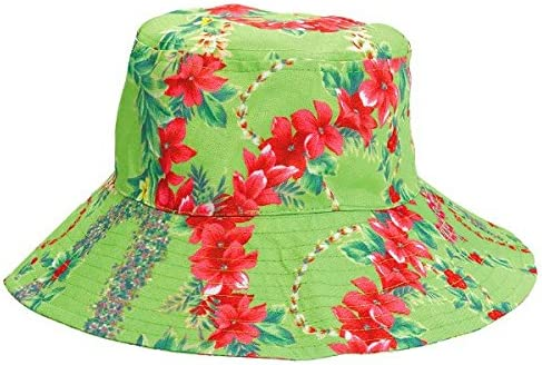 4.5 x 10 amscan 397130 Floral Leis Hibiscus Bloom Green Fabric Bucket Hat
