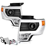VIPMotoZ 2009-2014 Ford F-150 Projector Headlights - Built In Cree LED Low Beam, Metallic Chrome Housing, Cyclop Optic Tube Daytime Running Lamp Strips, Driver and Passenger Side