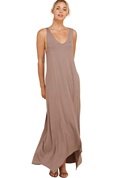 ce97a90f39 Annabelle Women's Knit Solid Tank Top Pocketed Irregular Maxi Dress Taupe  Grey Small D5291K