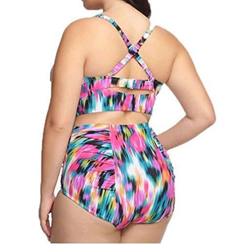 Rawdah Las mujeres de traje de baño de cintura alta más traje de baño de impresión flor playa conjunto de bikini (L, Rosado)