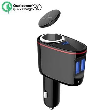 Cargador de Coche, Cargador de Mechero 12V / 24V con 100W un Encendedor de Cigarrillo y Doble USB Puerto(QC 3.0 + 2.4A), Pantalla de voltaje, para ...