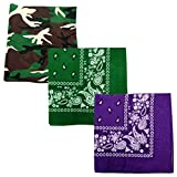 Paisley 3 piece Assorted Cotton Bandanas (Camo / Forest Green / Purple)