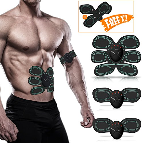 Smart Abs Muscle Trainer, Waitiee Abdominal Muscle Toner Electric Abdominal Exerciser Abs Gel Pads Smart Fitness for Men Women Home Gym Office by Waitiee