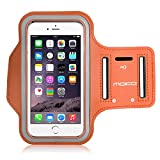 "MoKo Armband for iPhone 6s Plus / 6 Plus, Sweatproof Sports Armband Running Arm Band for iPhone 6S Plus, 6 Plus, Samsung S8 Plus, S7 Edge, Note 4 / 5, J7, BLU, Orange (Fits Arm Girth 12.6""-19.3"")"