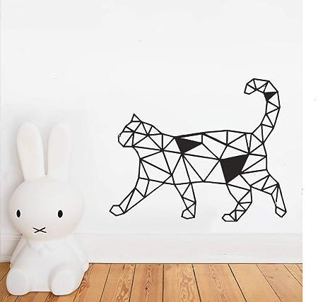 zxddzl Diseño geométrico del Gato Animal Etiqueta de la Pared del ...