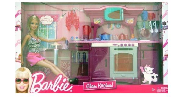 Amazon Com Mattel Barbie Glam Kitchen Play Set Large Box Play Set Toys Games