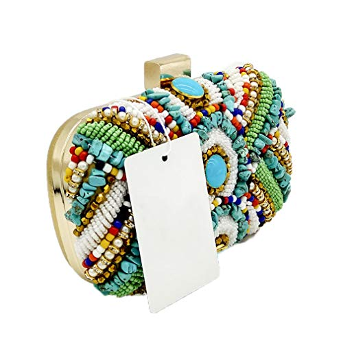 Women Vintage ULKpiaoliang Purse Patchwork Gold Dinner Beaded Handbag Bag Stones Beaded Gold Party Evening Ladies Clutch Box Bag Colorful qXPwInrPxd