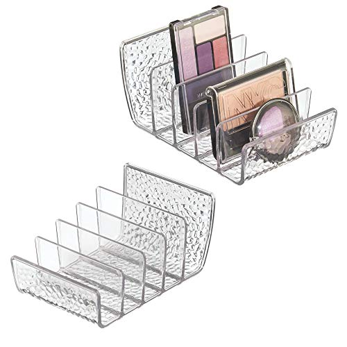 mDesign Cosmetic Palette Organizer for Vanity Cabinet to Hold Makeup, Beauty Products - Pack of 2, Clear