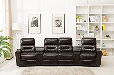 Lovely MCombo Leather 4 Seat Reclining Home Theatre Sectional Sofa With Built In  Vibrating Massage, Chocolate Brown (Model 7096)