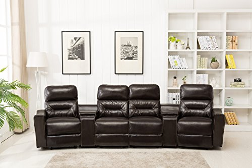 MCombo Leather 4 Seat Reclining Home Theatre Sectional Sofa with built in vibrating massage, Chocolate Brown (Model 7096) by Mcombo