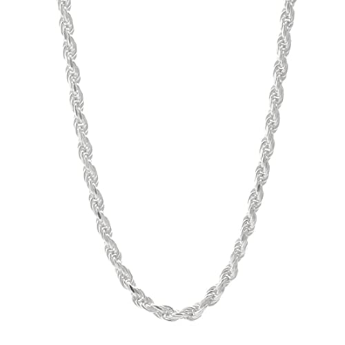Amberta 925 Sterling Silver 1.5 mm Twisted French Rope Chain Necklace 16