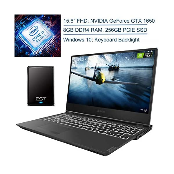 "2020 Lenovo Legion Y540-15 PG0 15.6"" FHD Gaming Laptop Computer, 9th Gen Intel Hexa-Core i7-9750H, 8GB DDR4 RAM, 256GB PCIE SSD, NVIDIA GeForce GTX 1650 4GB, Windows 10, EST 320GB External Hard Drive 1"
