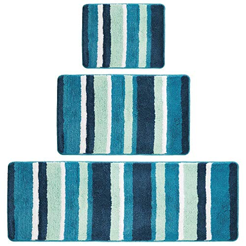 (mDesign Soft Microfiber Polyester Spa Rugs for Bathroom Vanity, Tub/Shower - Water Absorbent, Machine Washable - Plush Non-Slip Rectangular Accent Rug Mat - Striped Design, Set of 3 Sizes - Teal Blue)